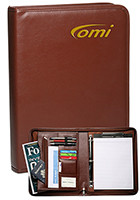 Personalized 10.5 in x 14 in x 2 in Brown Zippered Ringfolios with Clipboard