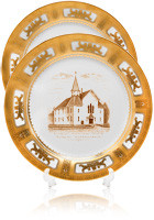 Promotional 10.5 inch White Porcelain Plates with 22K gold edging
