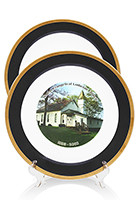 Customized 10 inch Black Porcelain Plates with 22K gold edging