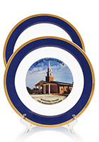 Custom 10 inch Blue Porcelain Plates with 22K Gold edging