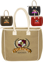 Wholesale 14 W x 14 H Two-Tone Jute Tote Bags
