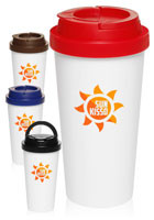 Promotional 16 oz Top Handle Plastic Double Wall Tumblers