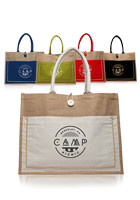TOT3777 - Cotton Pocket Jute Tote Bags #TOT3777