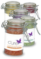 Customized 2.73 oz. Essential Oil Infused Bath Salts in Clear Glass Wire Bale Jar