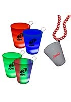 #WCJLR44 Imprinted 2 oz Neon Look LED Light up Glow Shot Glasses with J Hook