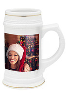 Wholesale 20 oz. White Ceramic Photo Beer Mugs - No Minimum