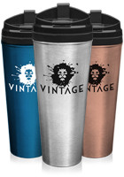 TM295 - 24 oz Stainless Steel Travel Mugs w/ Plastic Liner and Lid