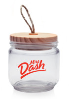 Customized 24oz Decorative Glass Candy Jars with Wooden Lids