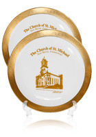 #PL31B8 8 inch Gold Band Porcelain Plates(with 22K gold edging)