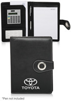 Custom 9 x 6.625 in. Silver Ring Padfolio with Calculator
