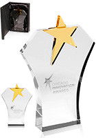 Promotional Gold Star Glass Awards