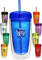 Personalized Econo 16 Oz. Double Wall Tumbler With Lid And Straw