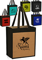 Bulk 12 W x 14 H Jute Color Panel Tote Bags