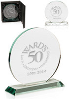 Custom Round Glass Awards with Stand