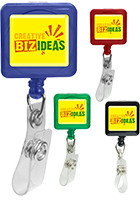 Promotional Square Domed Retractable Badge Holders with Alligator Clip