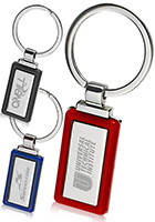 Custom Rectangle Color Accent Metal Keychains